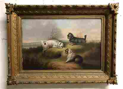19TH C O/B WELL EXECUTED PAINTING WITH 3 DOGS, IN FRAME