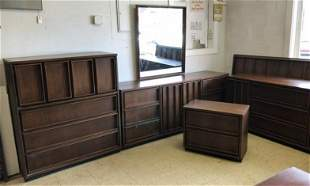 (5) PC. DANISH MODERN STYLE BEDROOM SET, WITH TALL