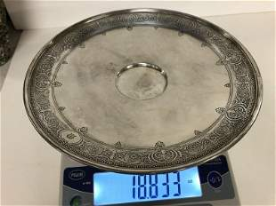 TIFFANY STERLING SILVER SERVING PLATE (MISSING GLASS