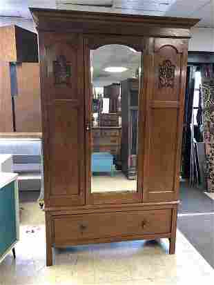 ENGLISH OAK ARMOIRE WITH MIRRORED DOOR, ONE DRAWER ON