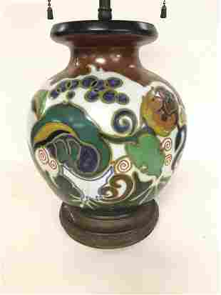 GOUDA ART POTTERY TABLE LAMP, GOOD OVERALL CONDITION,