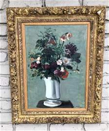ANDRE DERAIN (1880-1954) O/C TITLED ( VASE OF FLOWERS
