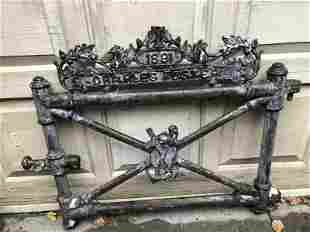 VICTORIAN CAST IRON CEMETARY GATE WITH ANCHOR & CROSS