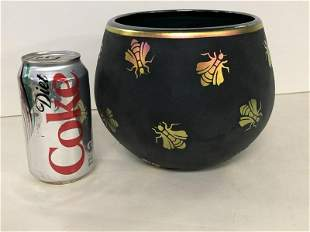 CONTEMPORARY ART GLASS VASE WITH CUT GOLD BUGS, OVER A