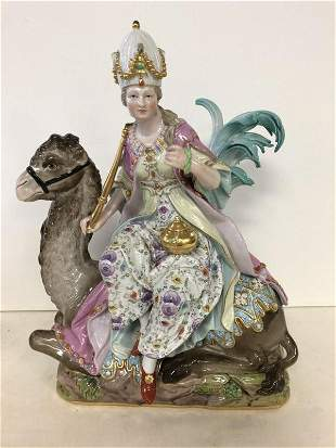 MEISSEN PORCELAIN ASIA FIGURE FROM ALLEGORIES OF THE