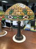 QUALITY ARTS & CRAFTS STYLE LEADED GLASS PANEL LAMP,