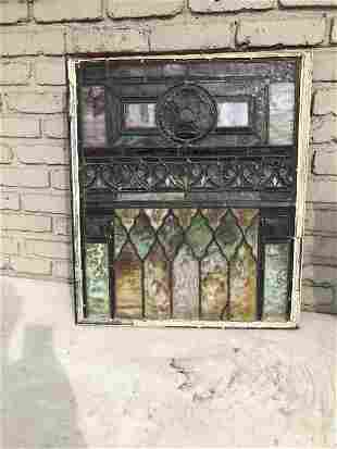EARLY DECORATIVE STAINED GLASS WINDOW FROM BROOLYN,