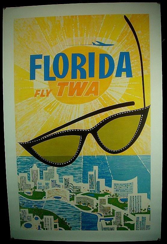 1: POSTER-FLORIDA FLY TWA , ARTSIT IS DAVID, GOOD CONDI