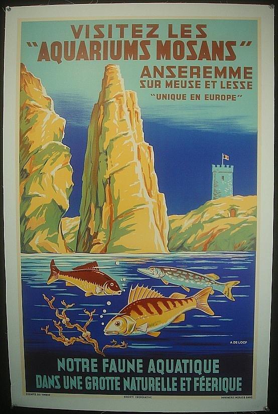 2: POSTER-FRENCH VISITEZ LES AQUARIUMS MOSANS, VIBRANT