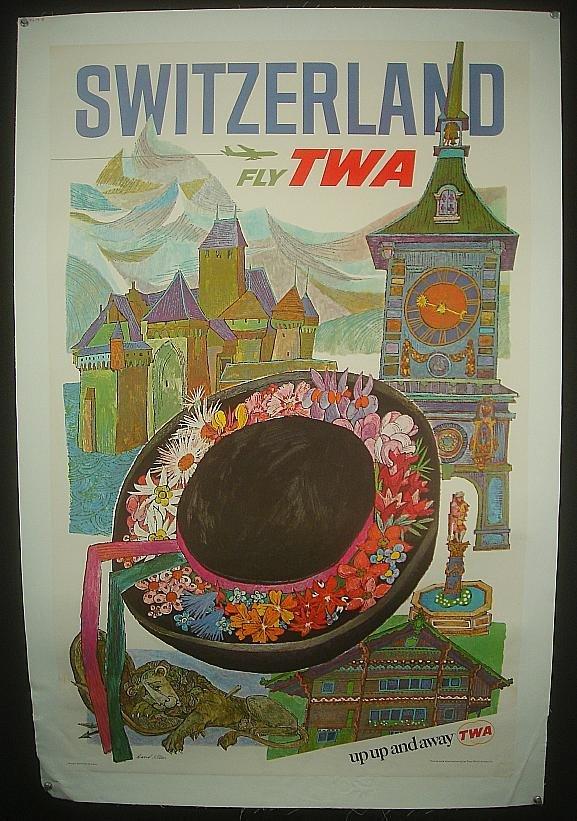 5: POSTER-SWITZERLAND FLY TWA, ARTSIT DAVID KLEIN, MEAS