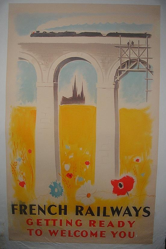 6: POSTER-FRENCH RAILWAYS POSTER, GETTING READY TO WELC