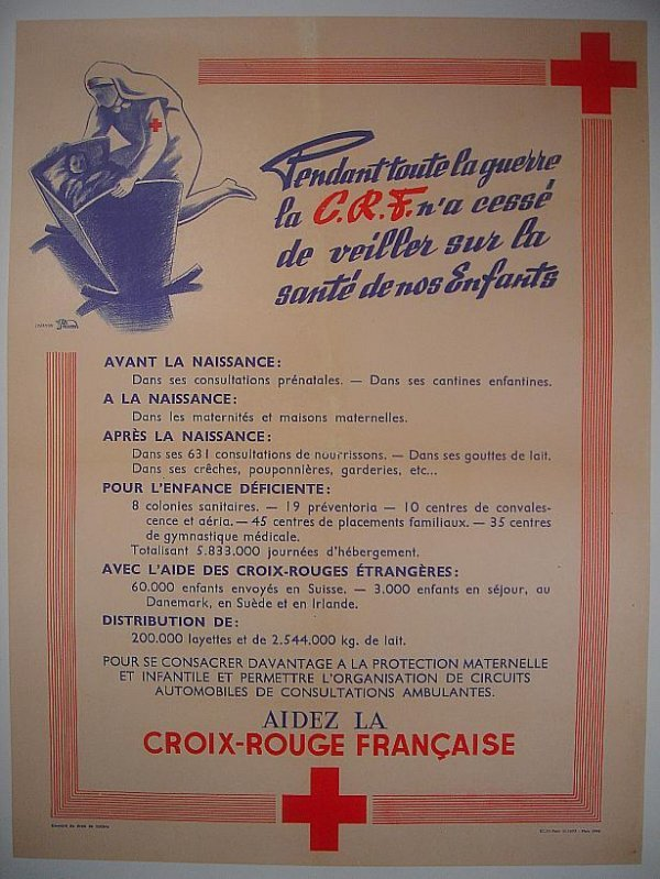 """12: POSTER-FRENCH RED CROSS WWII POSTER, MEASURES 31"""" X"""