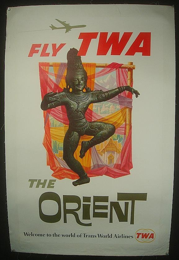 17: POSTER-FLY TWA THE ORIENT, LINEN BACKED, MEASURES 4