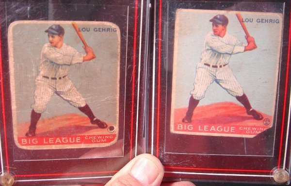 57: 2 LOU GEHRIG GOUDEY GUM CO BASEBALL CARDS, AS IS