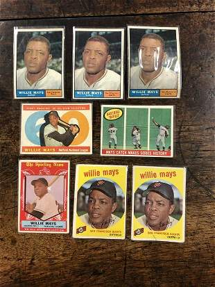 (8) WILLIE MAYS BASEBALL CARDS FROM LOCAL ESTATE, AS WE
