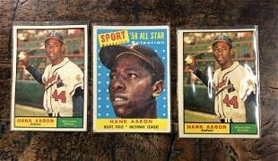 (3) OLDER HANK AARON BASEBALL CARDS, FROM LOCAL ESTATE,