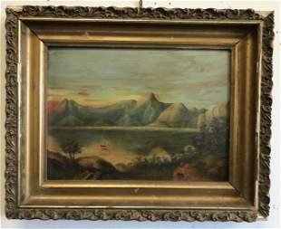 O/B HUDSON RIVER STYLE LANDSCAPE W/SAILBOAT IN WATER