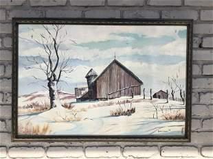 ROBERT EGGERS (1931-2002) O/C WINTER FARM LANDSCAPE ,