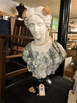 BEAUTIFULLY CARVED MARBLE BUST OF WOMAN W/FLOWERS IN
