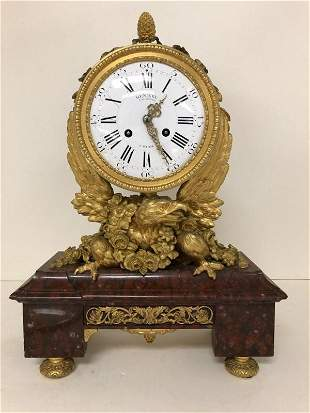 DENIERE FRENCH GILT BRONZE & MARBLE MANTLE CLOCK W/FULL