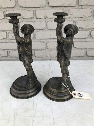 2 BRONZE MUSKETEER CANDLEHOLDERS, GOOD CONDITION,