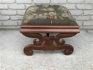 EMPIRE NEEDLEPOINT STOOL FROM LOCAL ESTATE, MEASURES