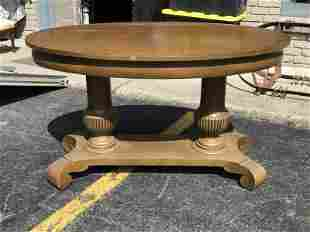 PAINTED OVAL LIBRARY TABLE W/DOULBE COLUMN BASE,