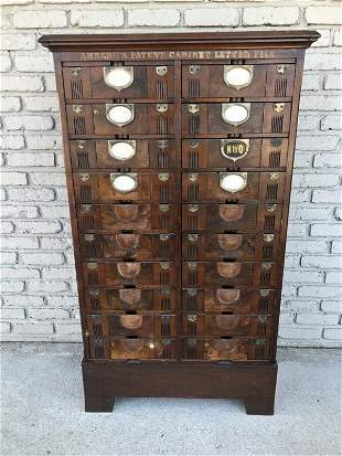 AMBERG'S PATENT CABINET LETTER FILE, INDUSTRIAL CABINET