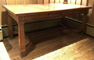 WALNUT 2 DRAWER LIBRARY/CONFERENCE TABLE, CIRCA 1930'S,