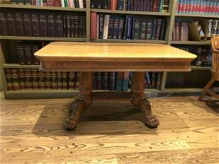 QUARTER SEWN OAK LIBRARY TABLE, CARVED FEET AND BASE,