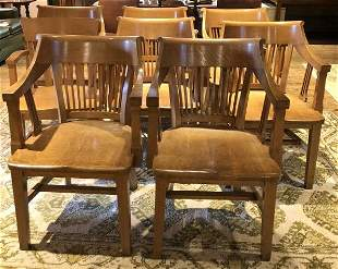 8 QUARTER SEWN OAK OFFICE ARMCHAIRS THAT WERE USED