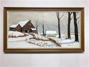 ROBERT EGGERS (1931-2002) O/C WINTER LANDSCAPE WITH