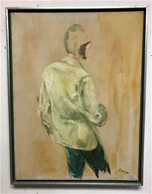 SALLY BERGER (1925-2021) O/C TITLED (FACE GREEN