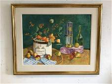 SALLY BERGER (1925-2021) O/C  STILL LIFE WITH FRUIT,