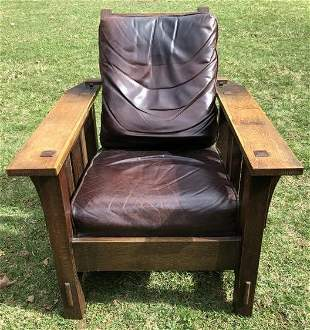 MORRIS CHAIR IN STYLE OF L & JG STICKLEY.  UNKNOWN