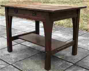 """GUSTAV STICKLEY #614 LIBRARY TABLE.  30""""H,  42""""W,  30""""D"""