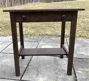 GUSTAV STICKLEY #649 SMALL TABLE WITH WOODEN SHAKER