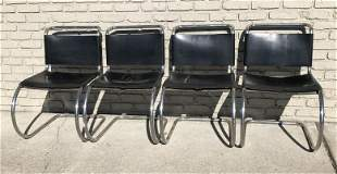 4 CHROME KNOLL CHAIRS W/LEATHER SEATS & BACKS, 2 OF THE