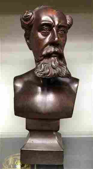 FOLK ART CARVED WOOD STATUE OF MAN WITH BEARD, FOUND IN