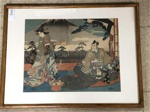 JAPANESE WOOD BLOCK, FRAMED AND MATTED, FROM NYC