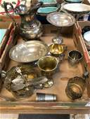 MISC LOT OF SILVERPLATE AND 2 WEIGHTED STERLING PCS