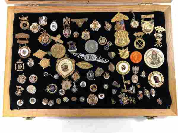 LARGE COLLECTION ORDER OF THE RED MEN MEDALS, TOKENS,
