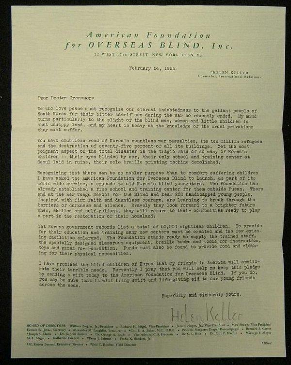 1: HELLEN KELLER SIGNED LETTER 2/24/1955 FROM THE AMERI