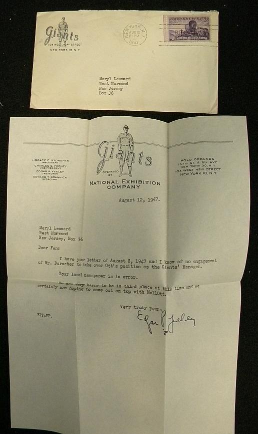 3: NY GIANTS BASEBALL SIGNED 1947 LETTER BY TREASURER E