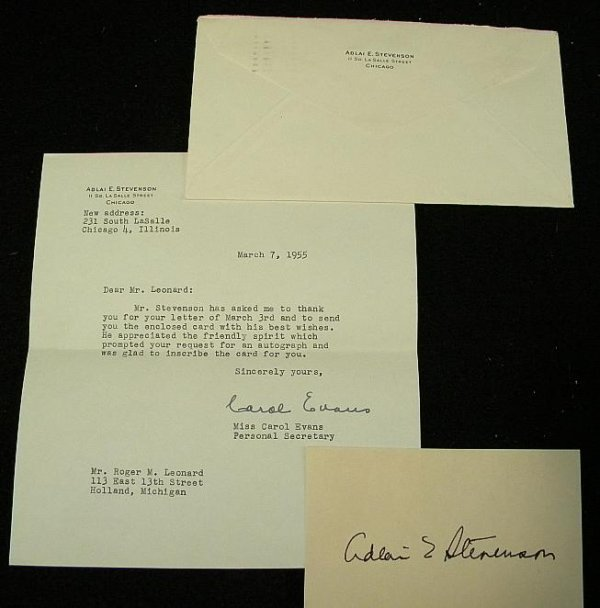4: ADLAI STEVENSON SIGNED CARD WITH LETTER AND ENVELOPE