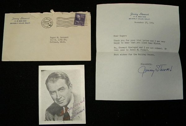 6: JIMMY STEWART SIGNED PHOTO AND LETTER FROM HIS OFFIC