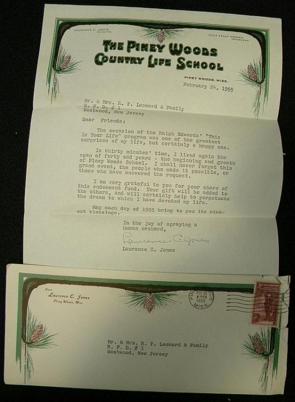 7: LAURENCE C JONES SIGNED LETTER, HE WAS THE FOUNDER O