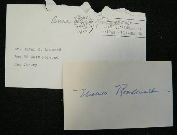 10: ELEANOR ROOSEVELT SIGNED CARD WITH ENVELOPE FROM HE