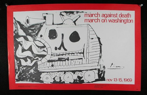 215: PICASSO 1969 POSTER MARCH AGAINST DEATH, MARCH ON