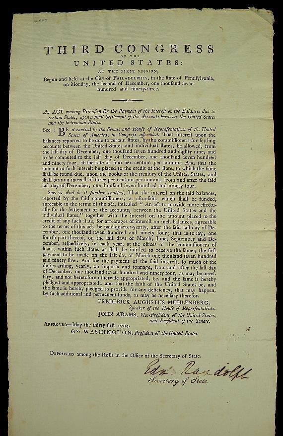 218: GEORGE WASHINGTON DOCUMENT SIGNED BY SECRETARY OF